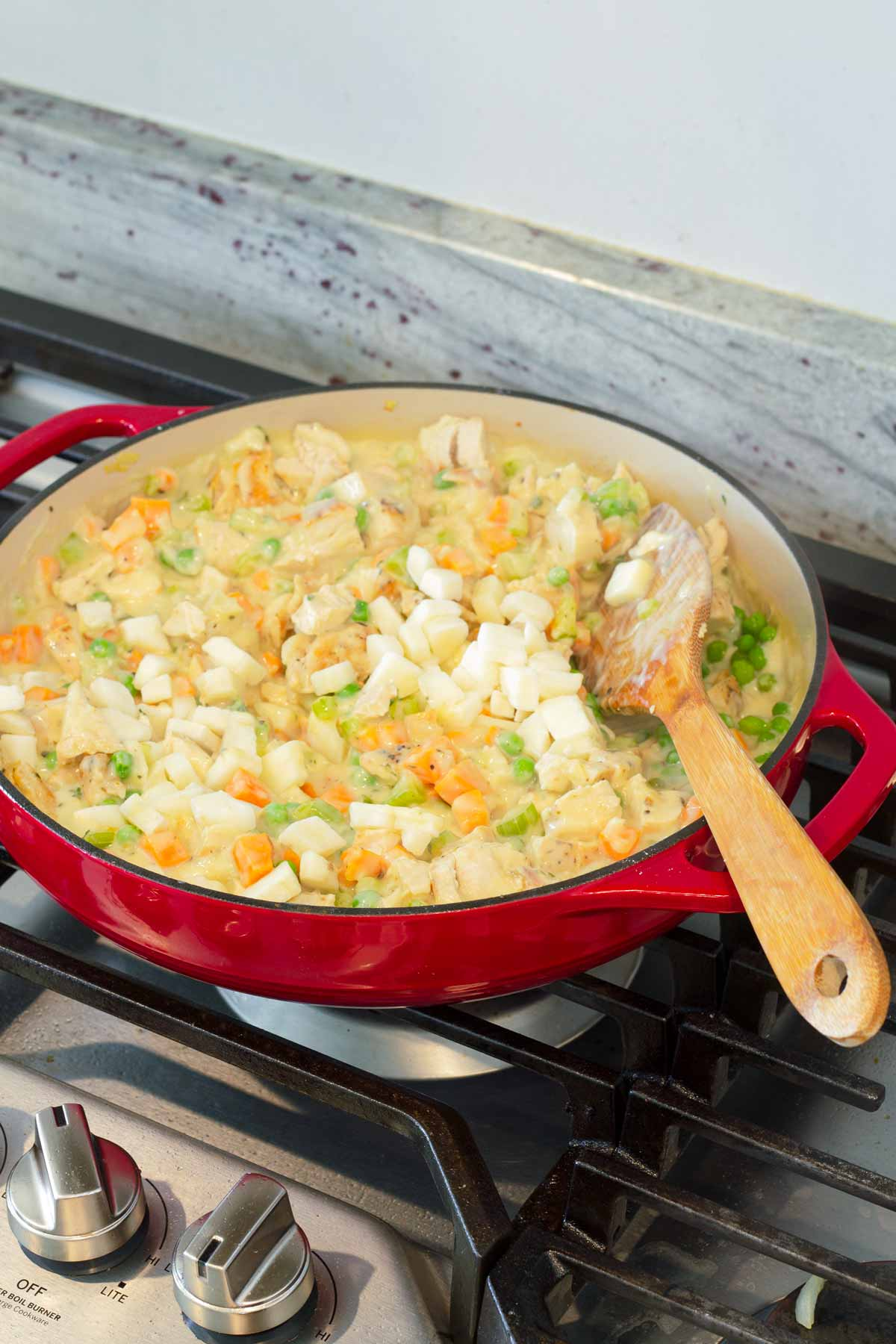 potatoes added to pot pie filling