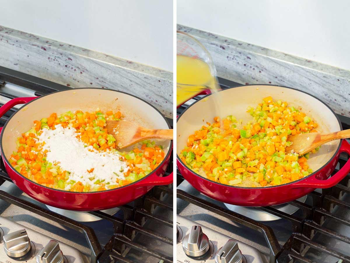 adding flour and broth to veggie mix