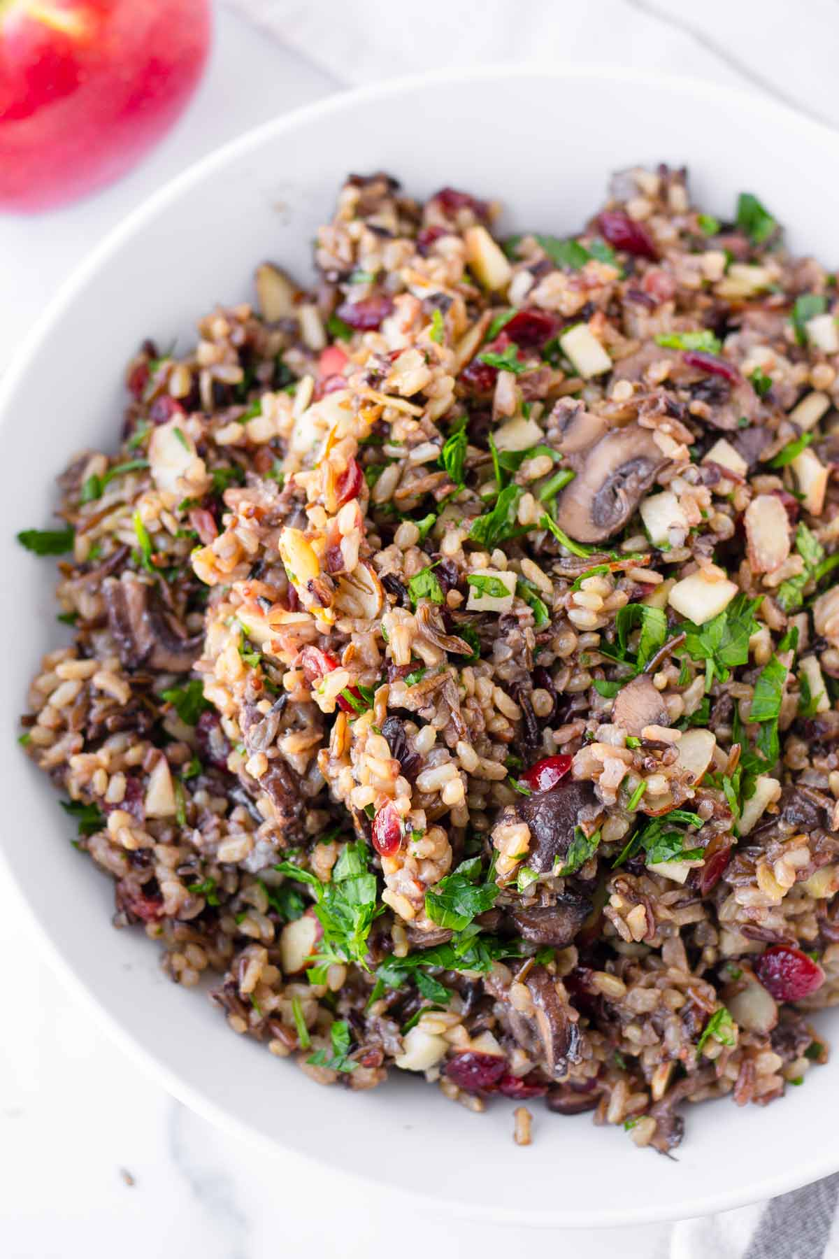 close up fo pilaf with wild rice blend and fruits